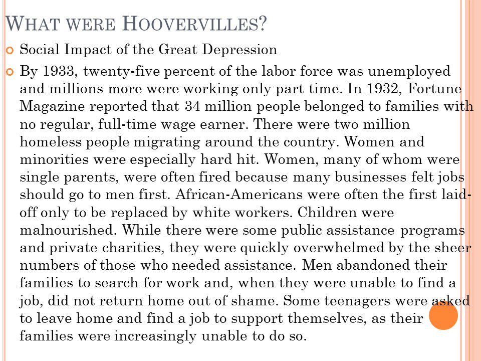 What were Hoovervilles