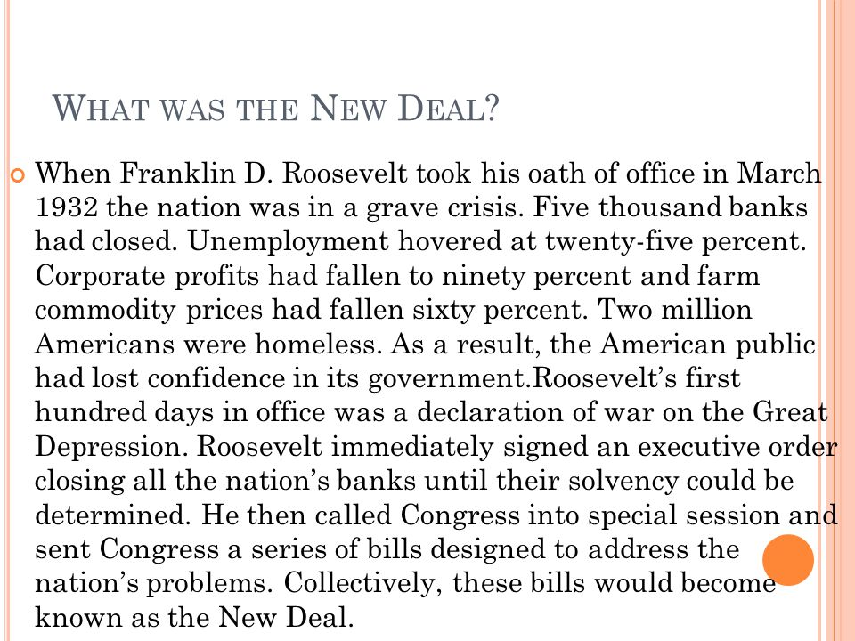 What was the New Deal