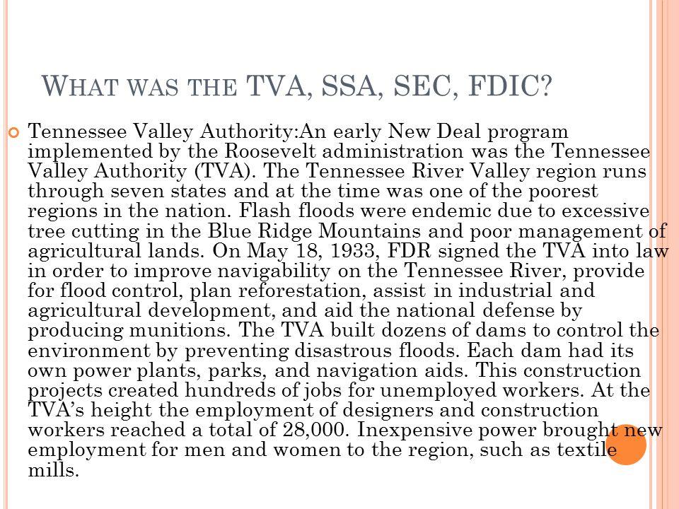 What was the TVA, SSA, SEC, FDIC