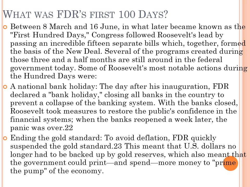 What was FDR's first 100 Days