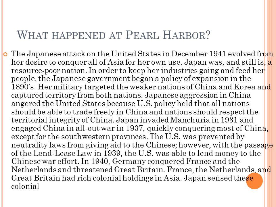 What happened at Pearl Harbor