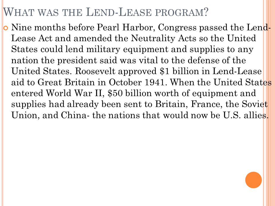 What was the Lend-Lease program