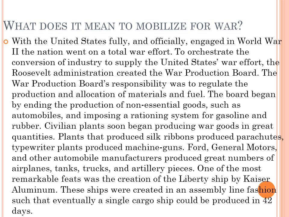What does it mean to mobilize for war
