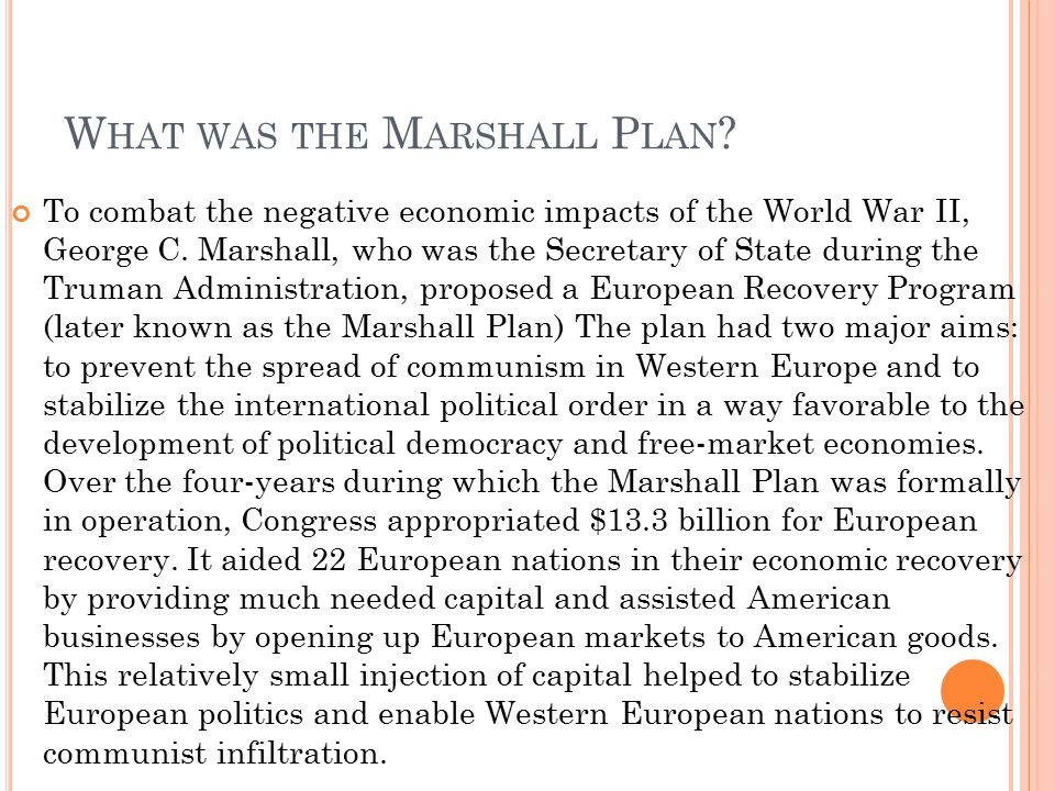 What was the Marshall Plan