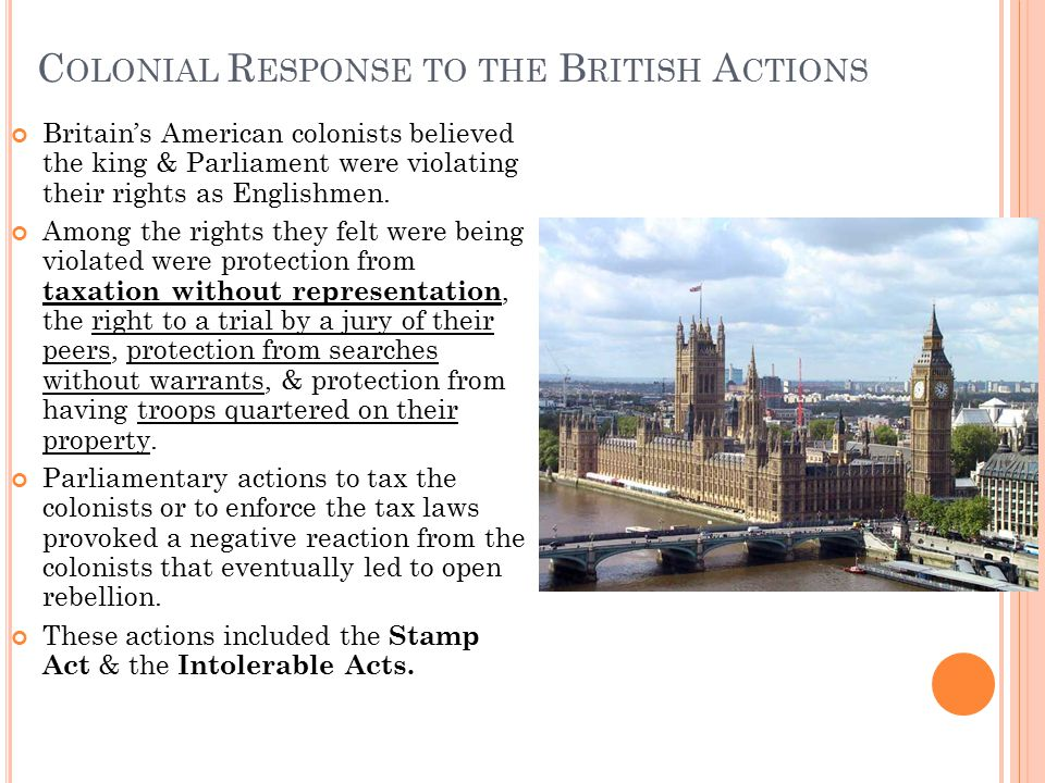 Colonial Response to the British Actions