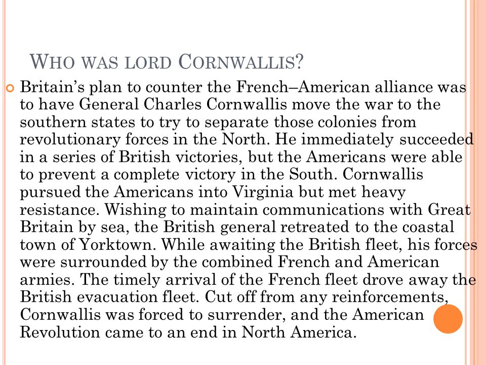 Who was lord Cornwallis