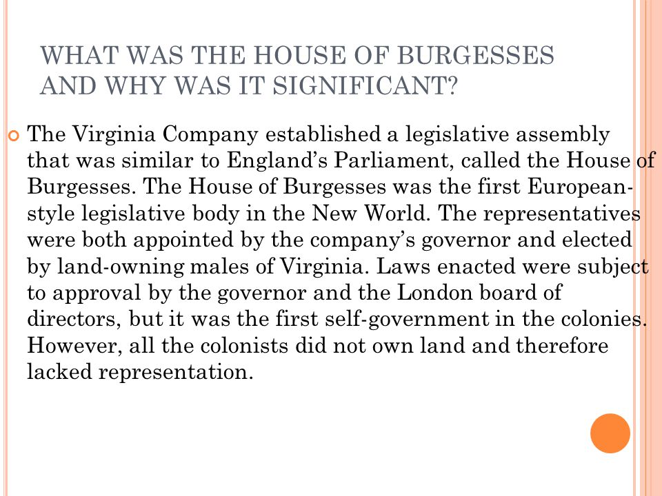 WHAT WAS THE HOUSE OF BURGESSES AND WHY WAS IT SIGNIFICANT