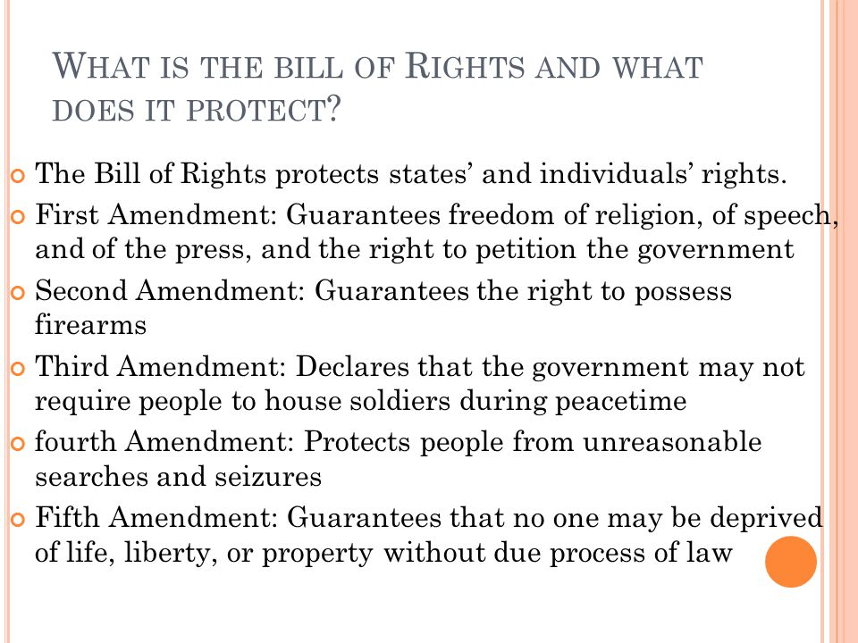 What is the bill of Rights and what does it protect