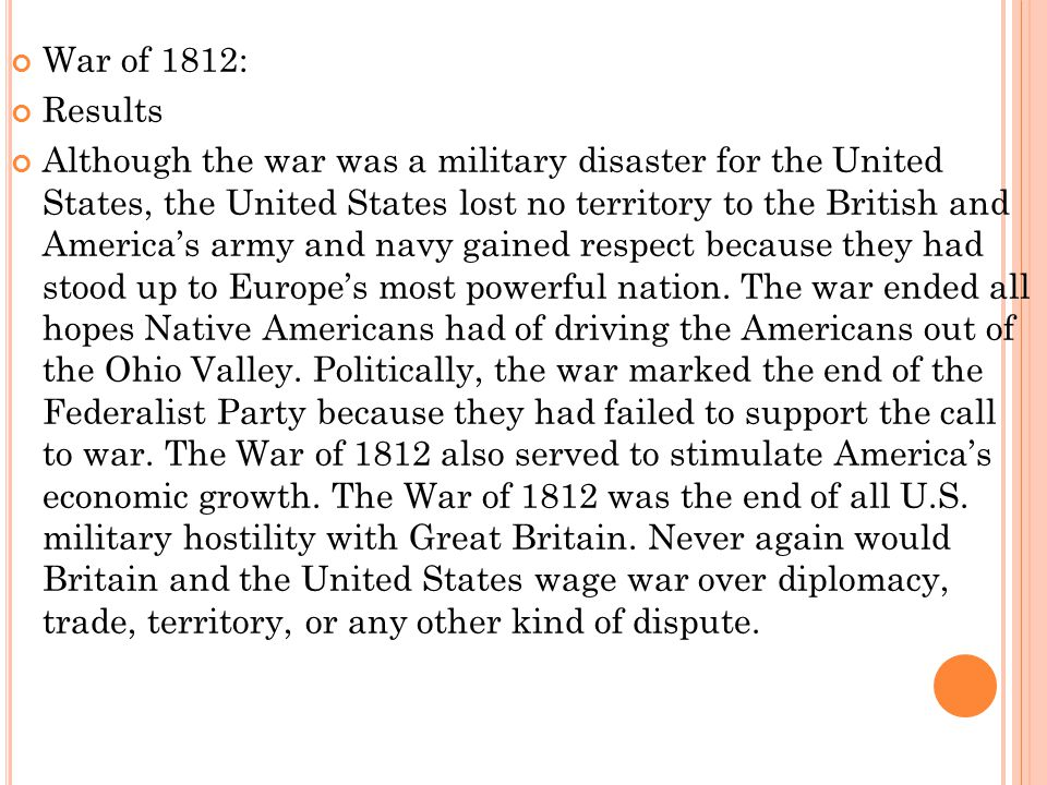 War of 1812: Results.