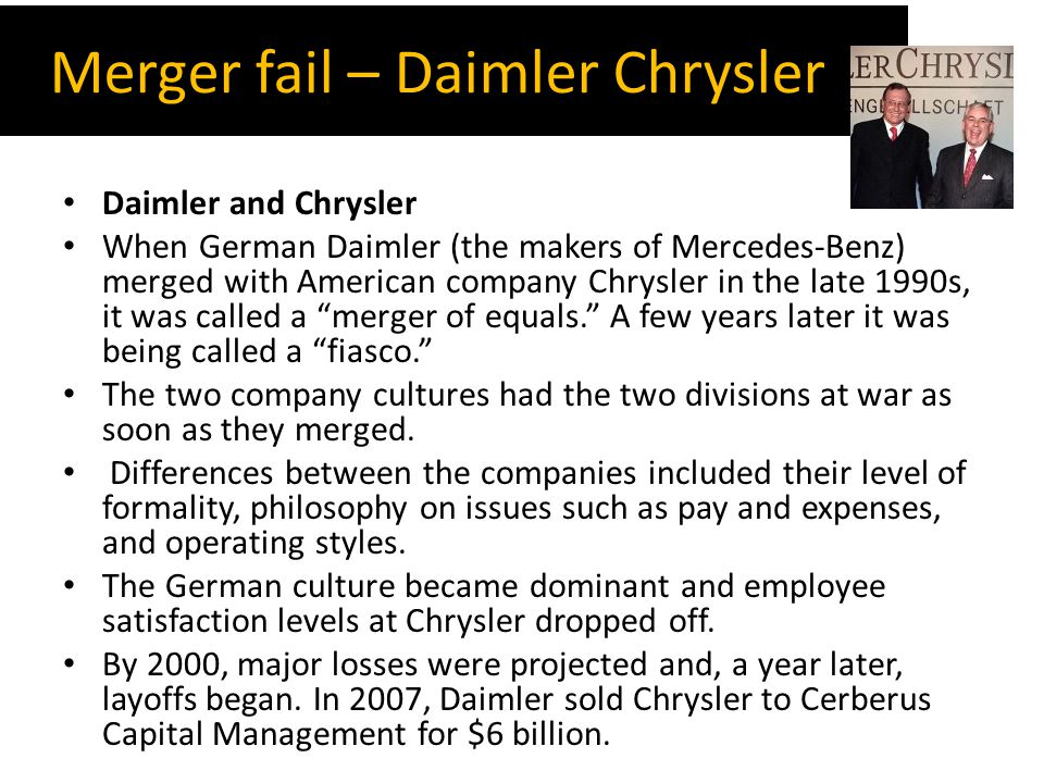 failed merger of daimlerchrysler Daimlerchrysler announced monday that it would sell a controlling  of  synergies, zetsche said of the merger that created daimlerchrysler.