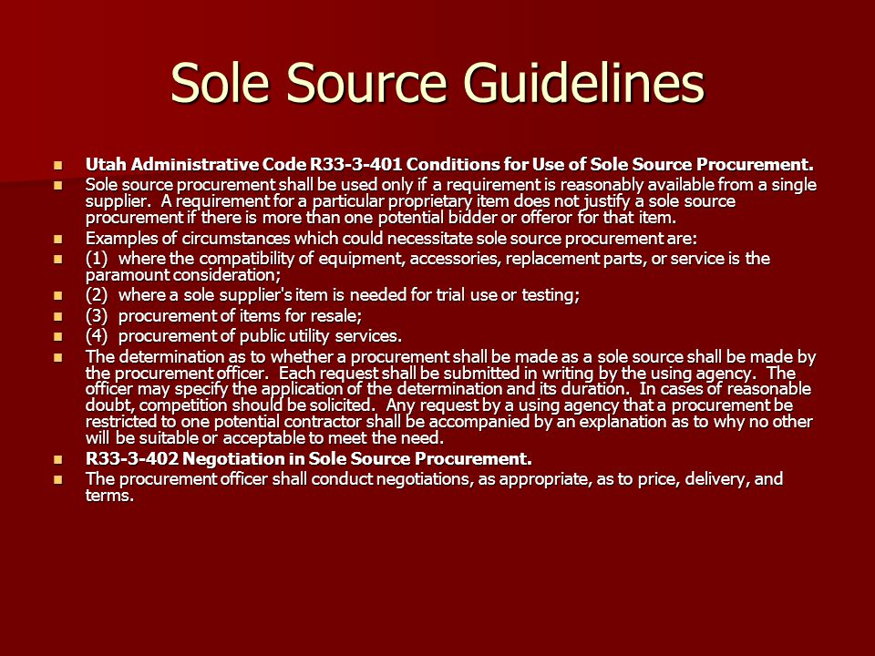 Sole Source Guidelines