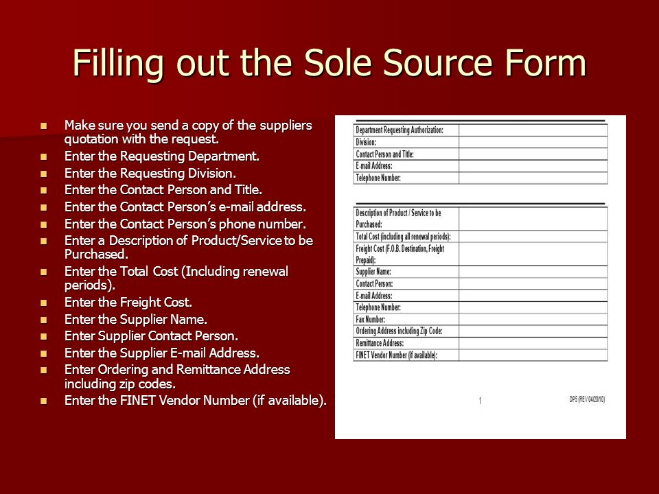 Filling out the Sole Source Form