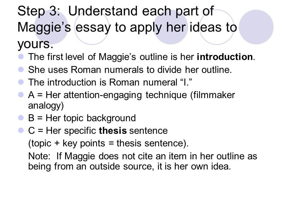outline of an informative essay ppt video online  step 3 understand each part of maggie s essay to apply her ideas to yours