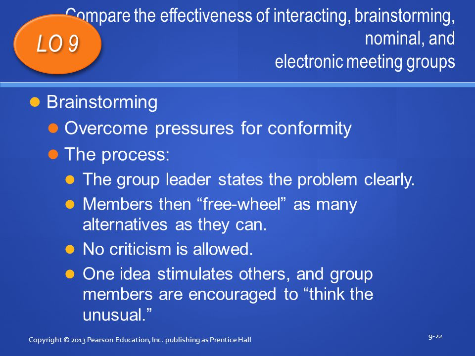 effectiveness of electronic group brainstorming essay Electronic brainstorming is a computerized version of the traditional (verbal) brainstorming technique typically supported by an electronic meeting system (ems) however, simpler forms may be conducted via email, browser-based, or peer-to-peer software.
