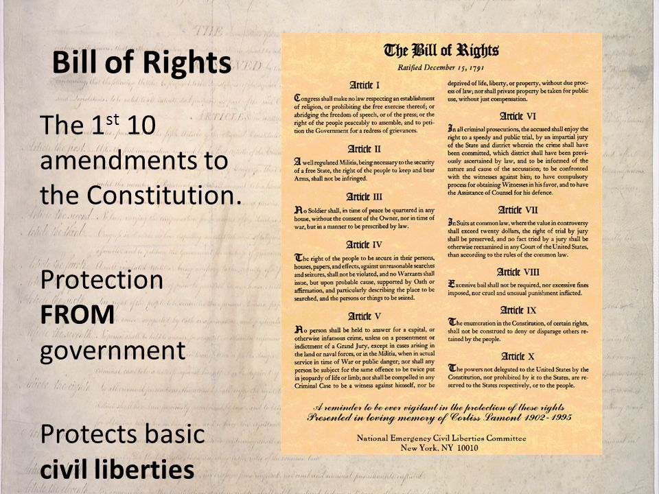 Bill of Rights The 1st 10 amendments to the Constitution.