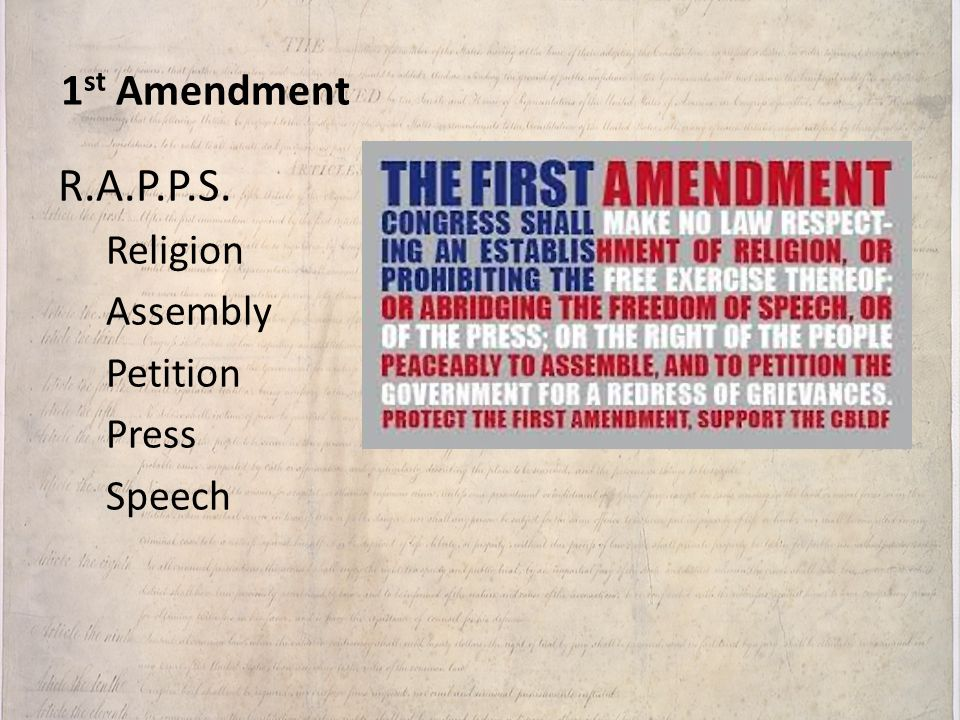 1st Amendment R.A.P.P.S. Religion Assembly Petition Press Speech