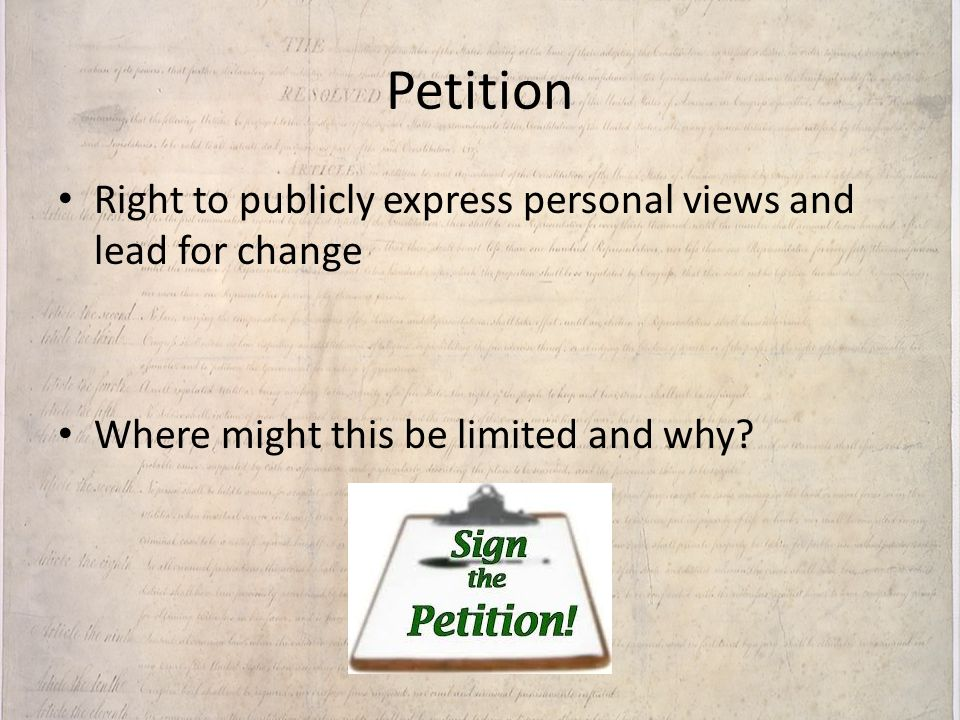 Petition Right to publicly express personal views and lead for change