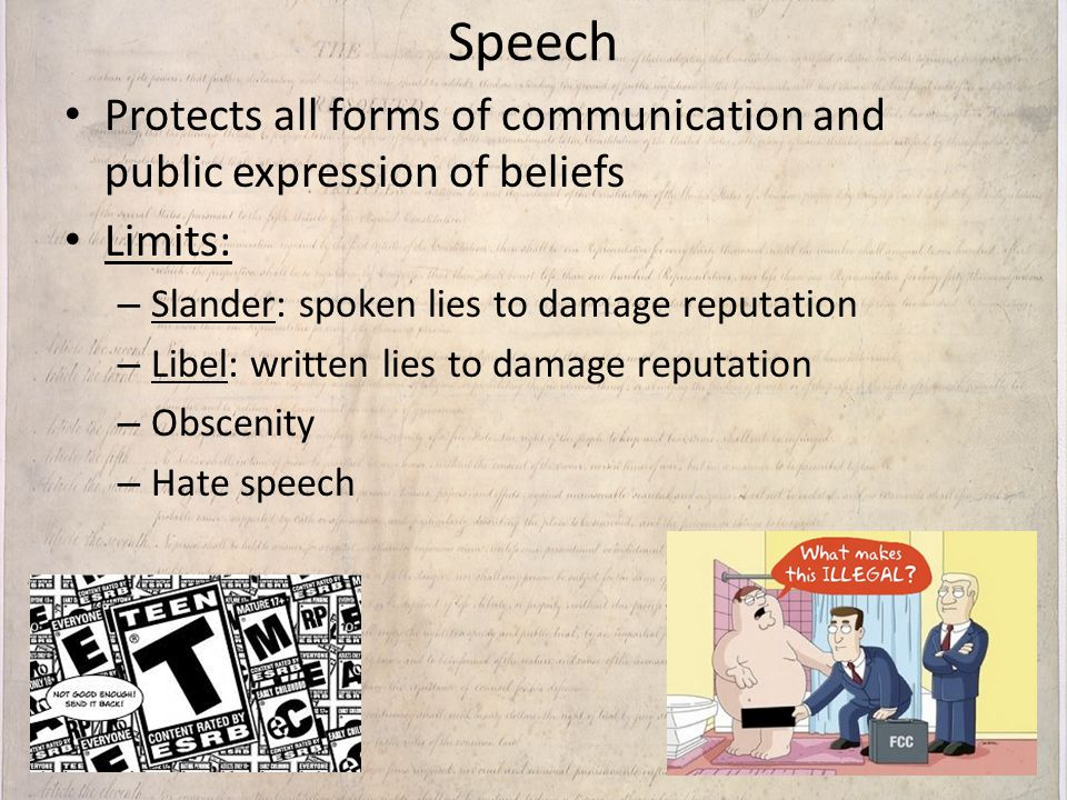 Speech Protects all forms of communication and public expression of beliefs. Limits: Slander: spoken lies to damage reputation.