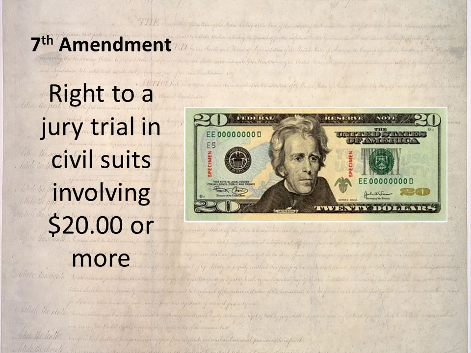 Right to a jury trial in civil suits involving $20.00 or more
