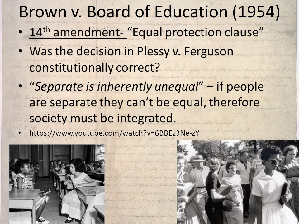Plessy v ferguson vs brown v