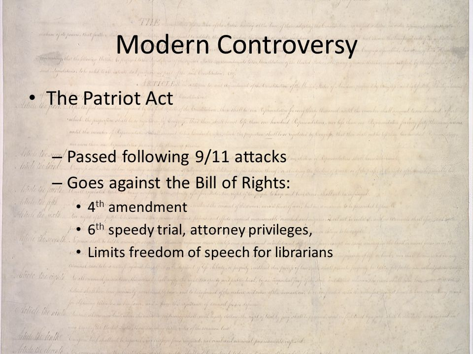 Modern Controversy The Patriot Act Passed following 9/11 attacks