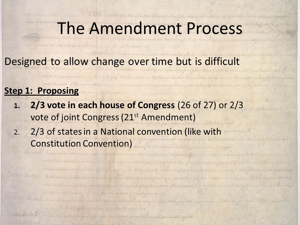 The Amendment Process Designed to allow change over time but is difficult. Step 1: Proposing.