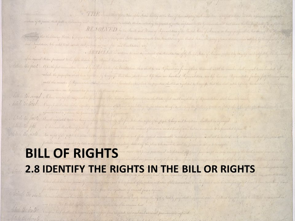 Bill of rights 2.8 identify the rights in the Bill or Rights