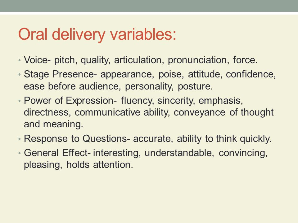 Oral delivery variables: