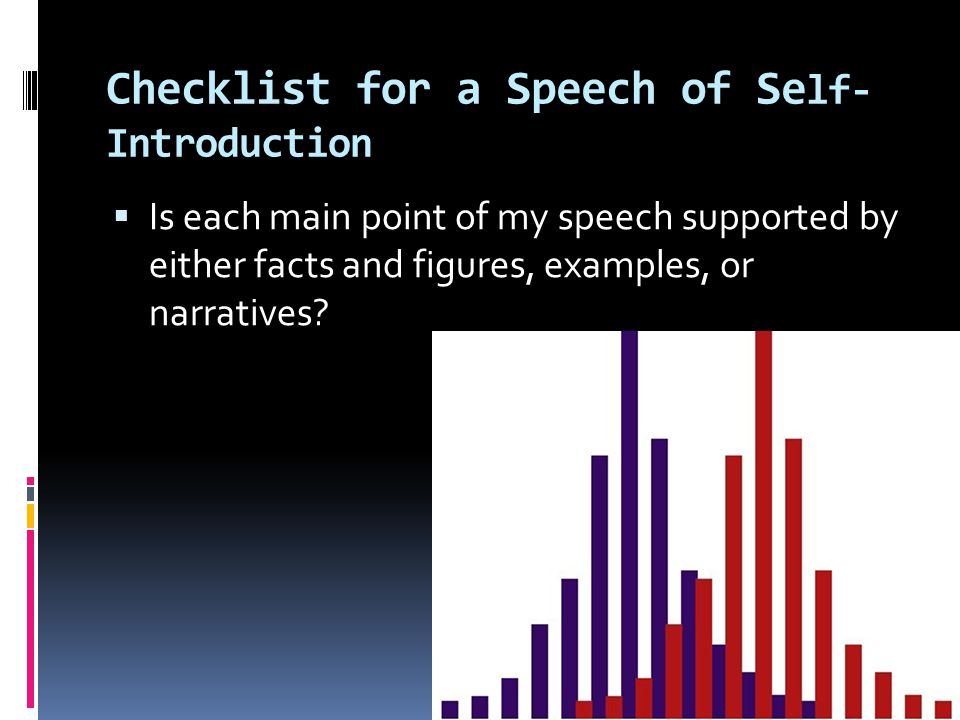 my self concept speech in a For example, if you have to give a speech in one of your classes, your self-schema might be that you are shy in situations where you have to speak in public.