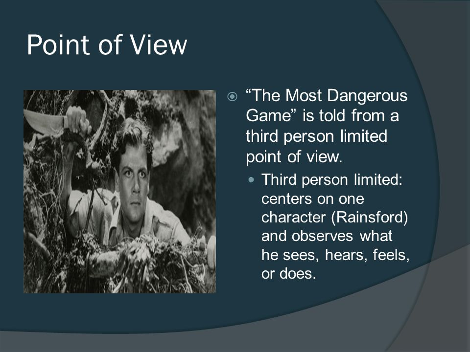thesis statement for the most dangerous game by richard connell Title length color rating : the hunter becomes the hunted in the most dangerous game by richard connell - where do you draw the line in hunting is it at the point where you feel pity for your prey.