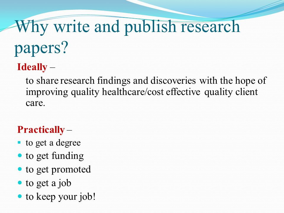 how to write research findings