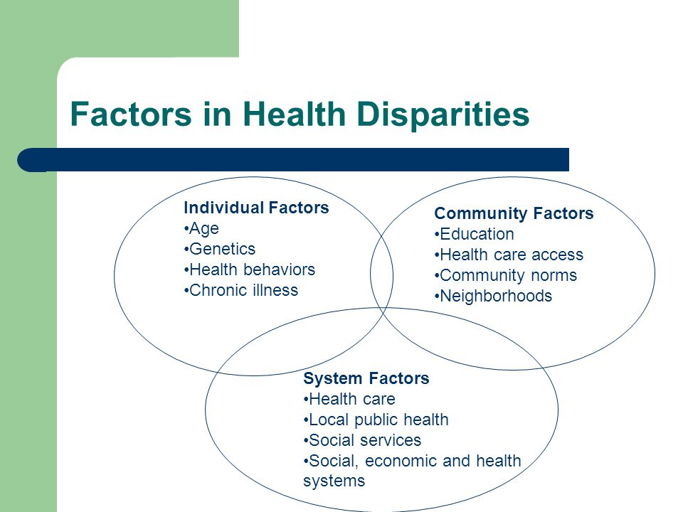 disparities in health care An individual's health is influenced by many different factors, including inherited traits, the health care received, individual habits and choices, and different.
