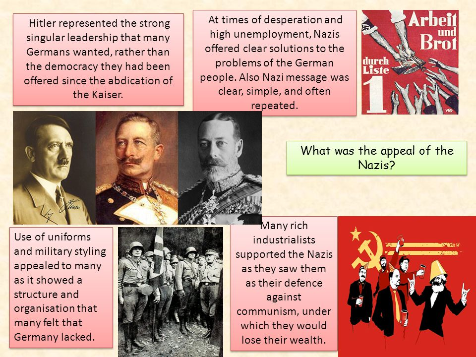 appeal of the nazi party Resources for teaching about the rise of the nazi party the rise of the nazi party  examine the reasons for the broad appeal to the german people of nazi.