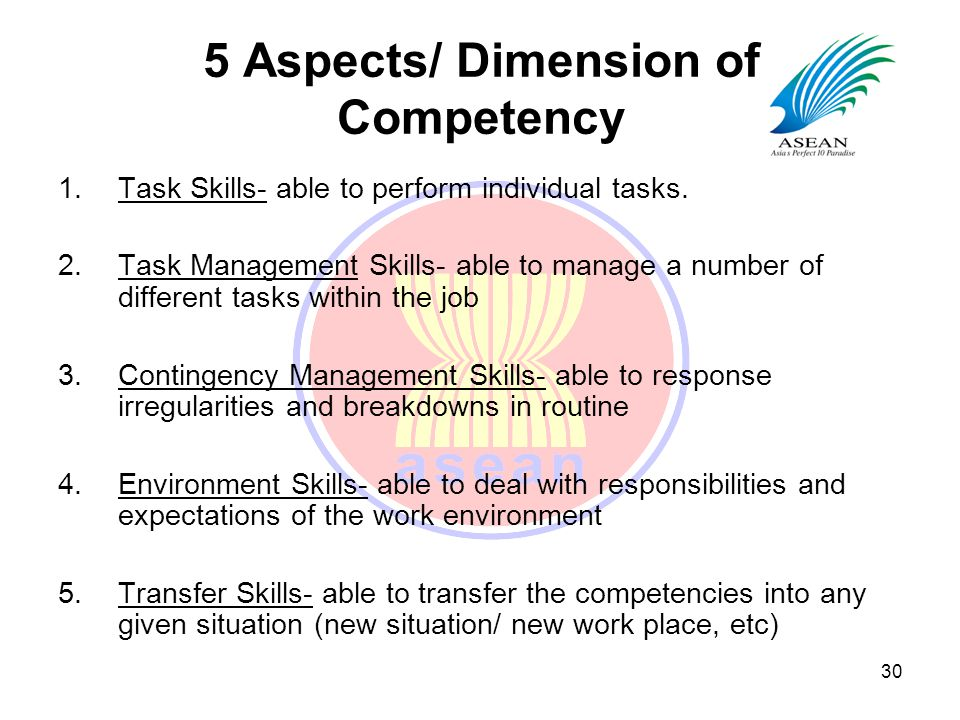 competency in different skills A competency model is used to define the ideal set of skills and traits required for a specific job or role withing an organization or government several different models exist and many companies .