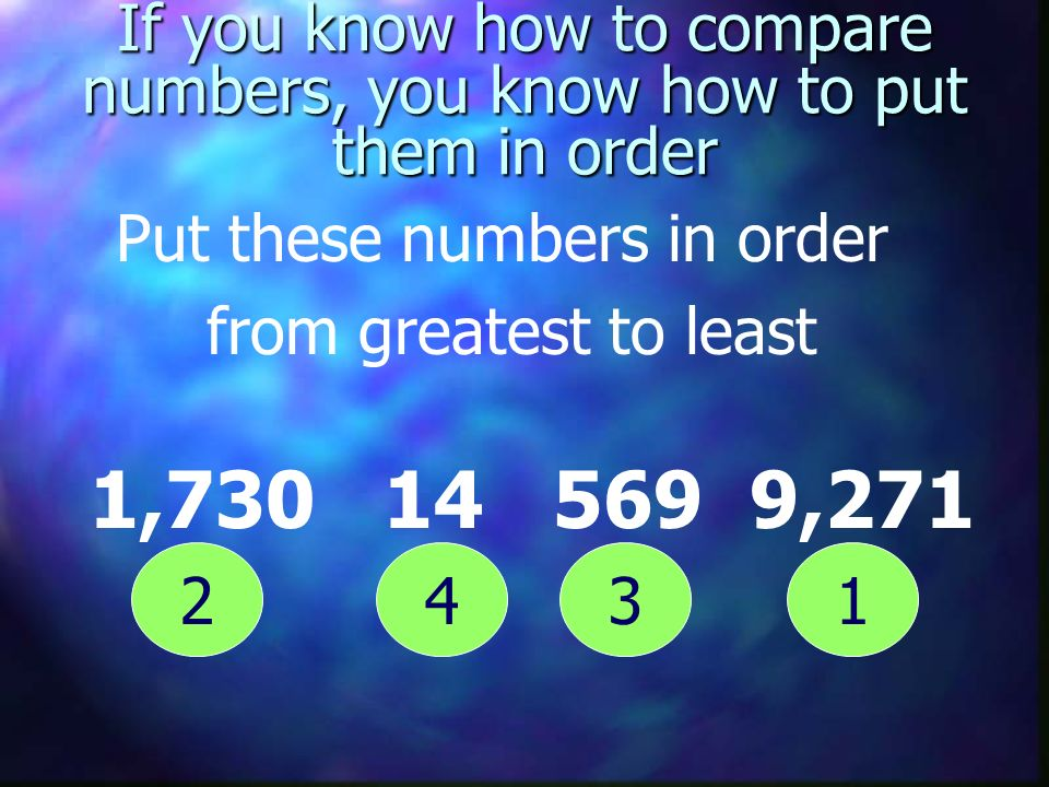 If you know how to compare numbers, you know how to put them in order