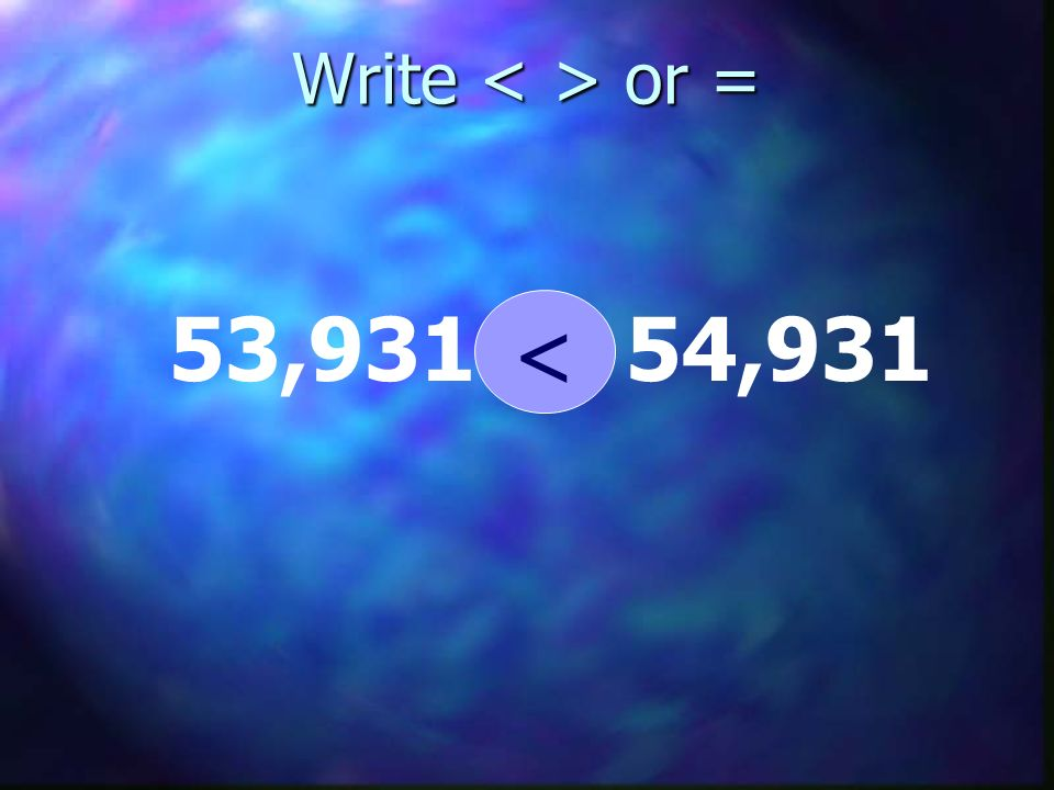 Write < > or = 53,931 < 54,931