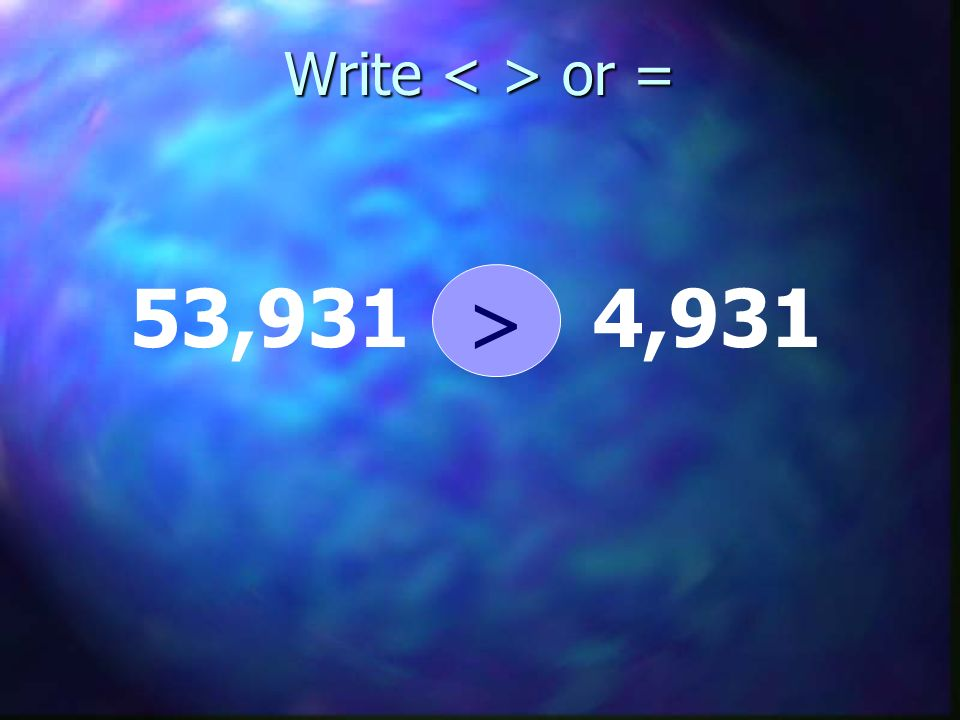 Write < > or = 53,931 > 4,931