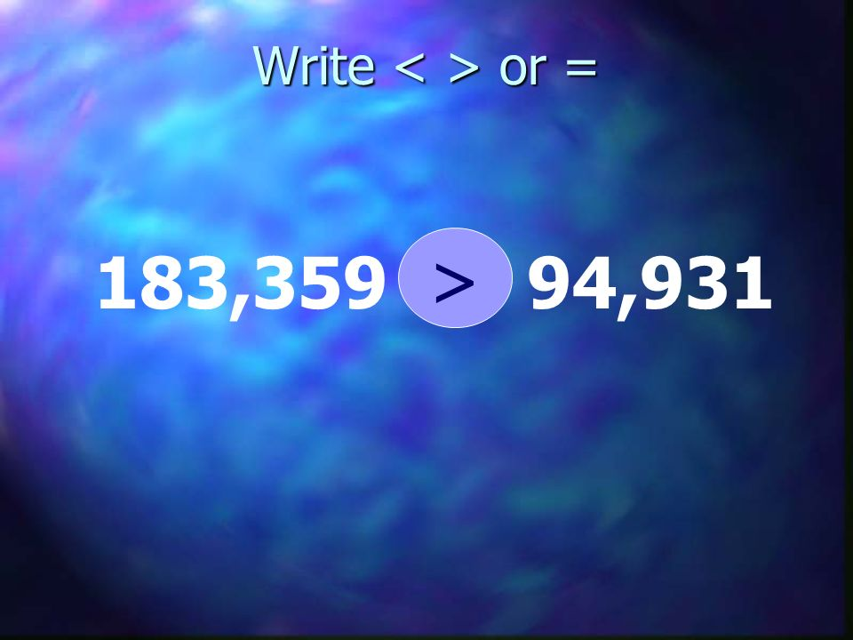 Write < > or = > 183,359 94,931