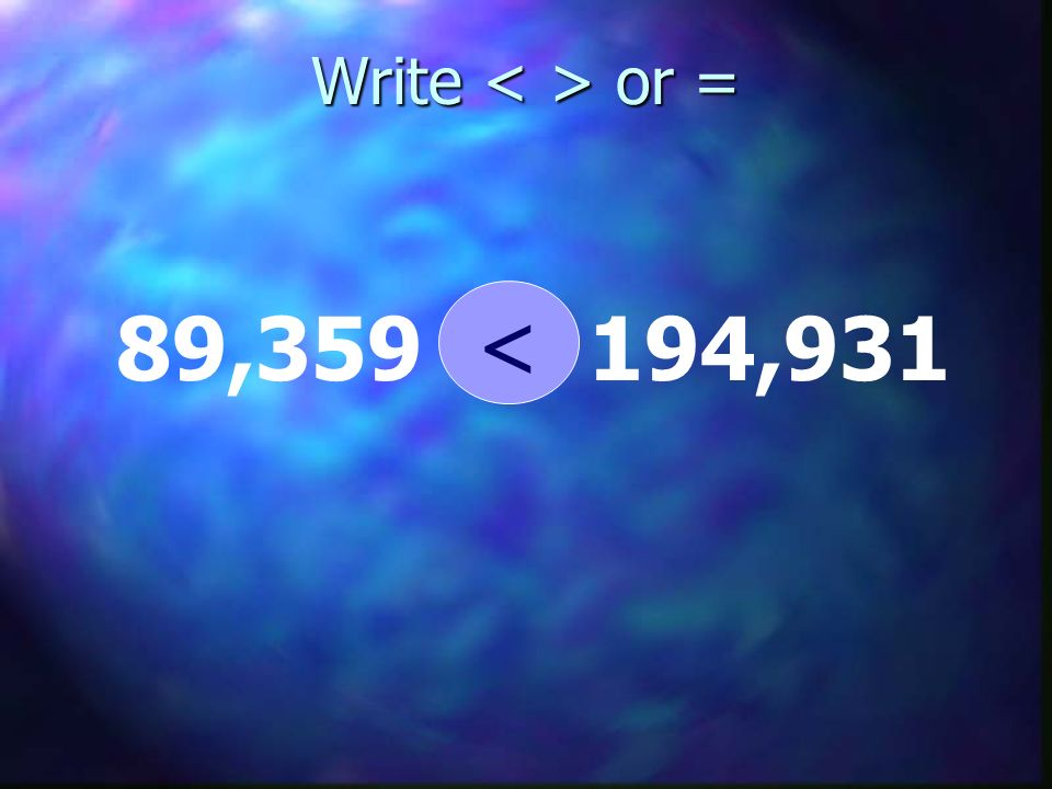 Write < > or = < 89,359 194,931