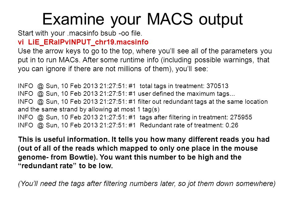Examine your MACS output