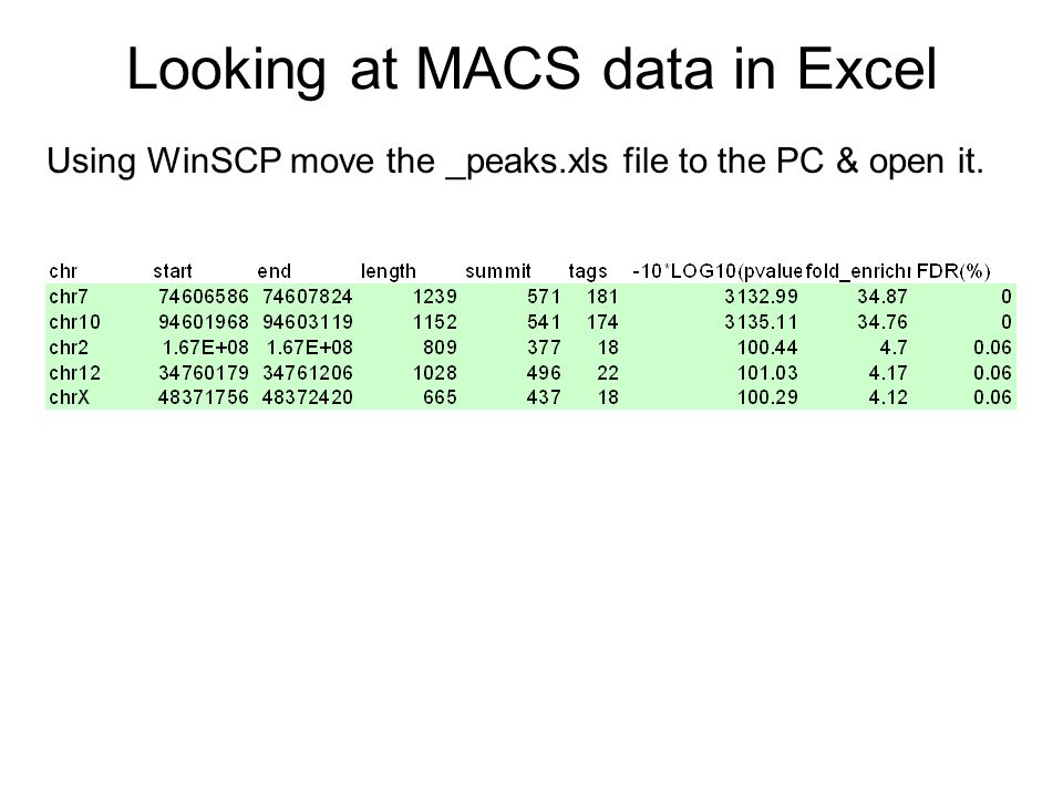 Looking at MACS data in Excel