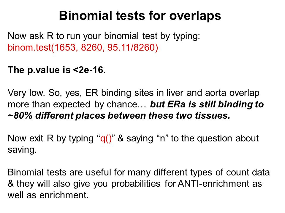 Binomial tests for overlaps