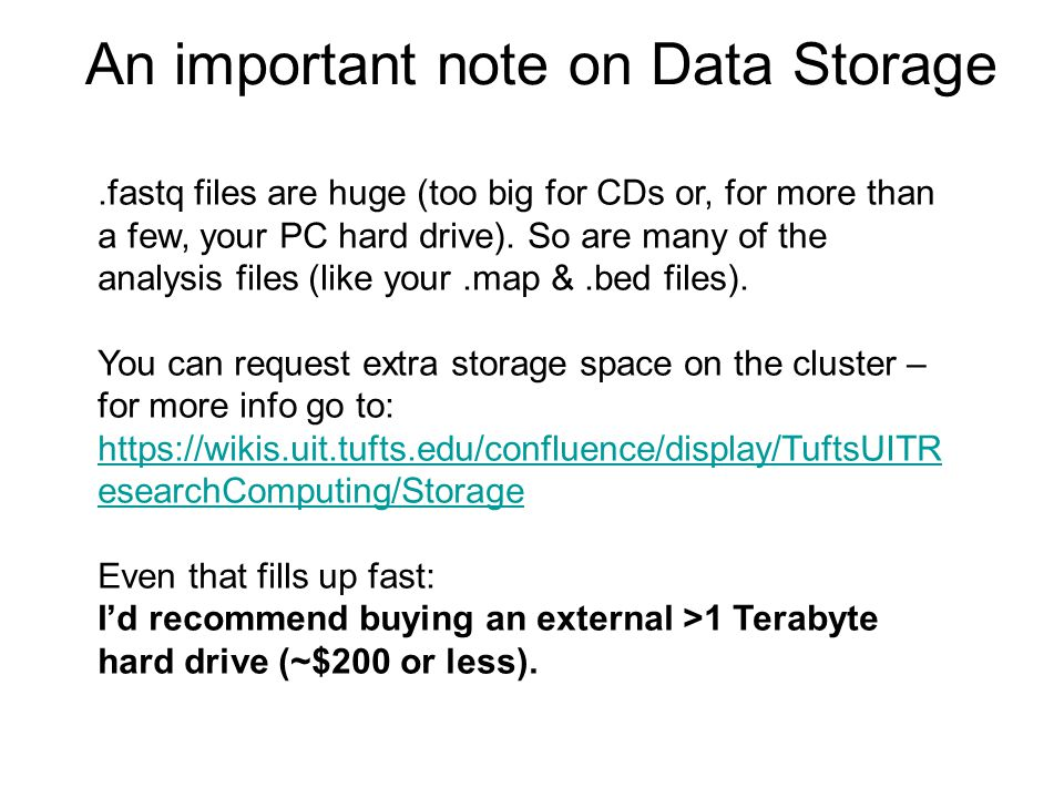 An important note on Data Storage