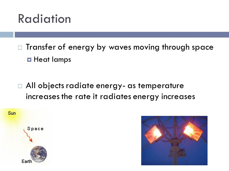 Radiation Transfer of energy by waves moving through space