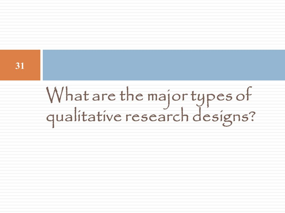 What are the major types of qualitative research designs