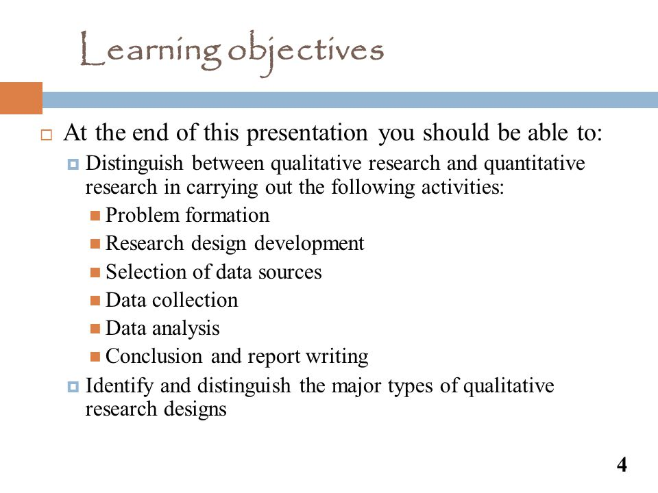 Learning objectives At the end of this presentation you should be able to: