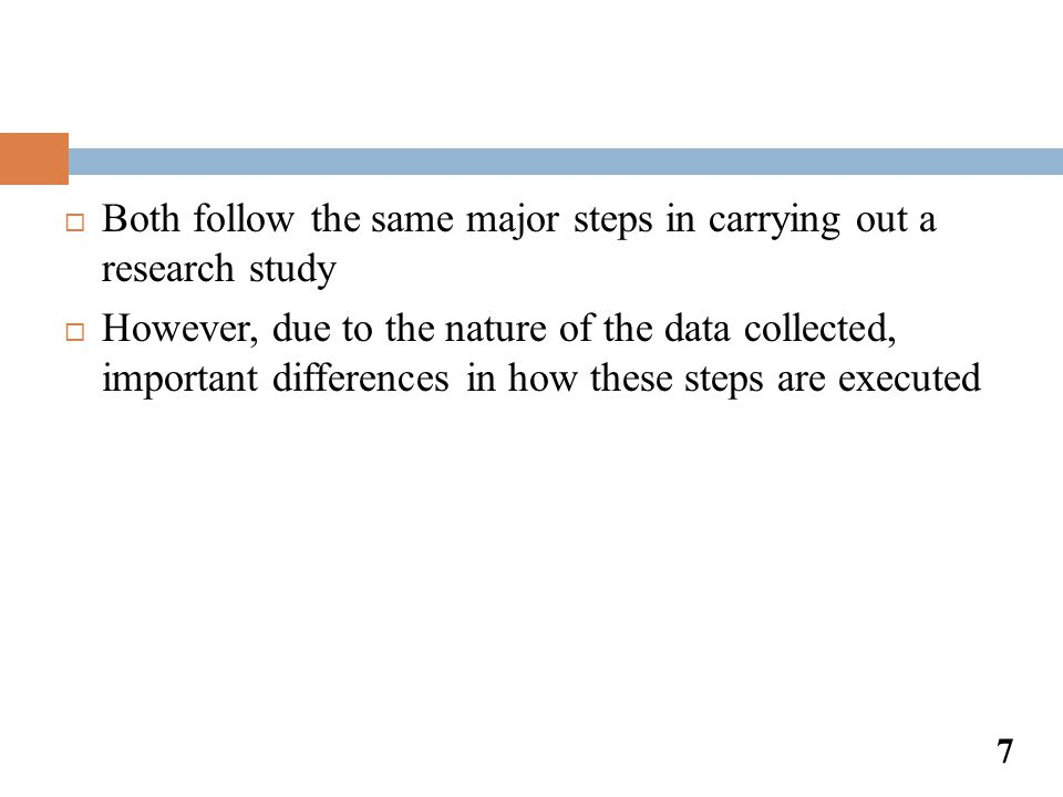 Both follow the same major steps in carrying out a research study