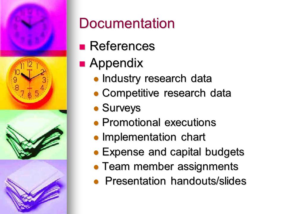 Documentation References Appendix Industry research data