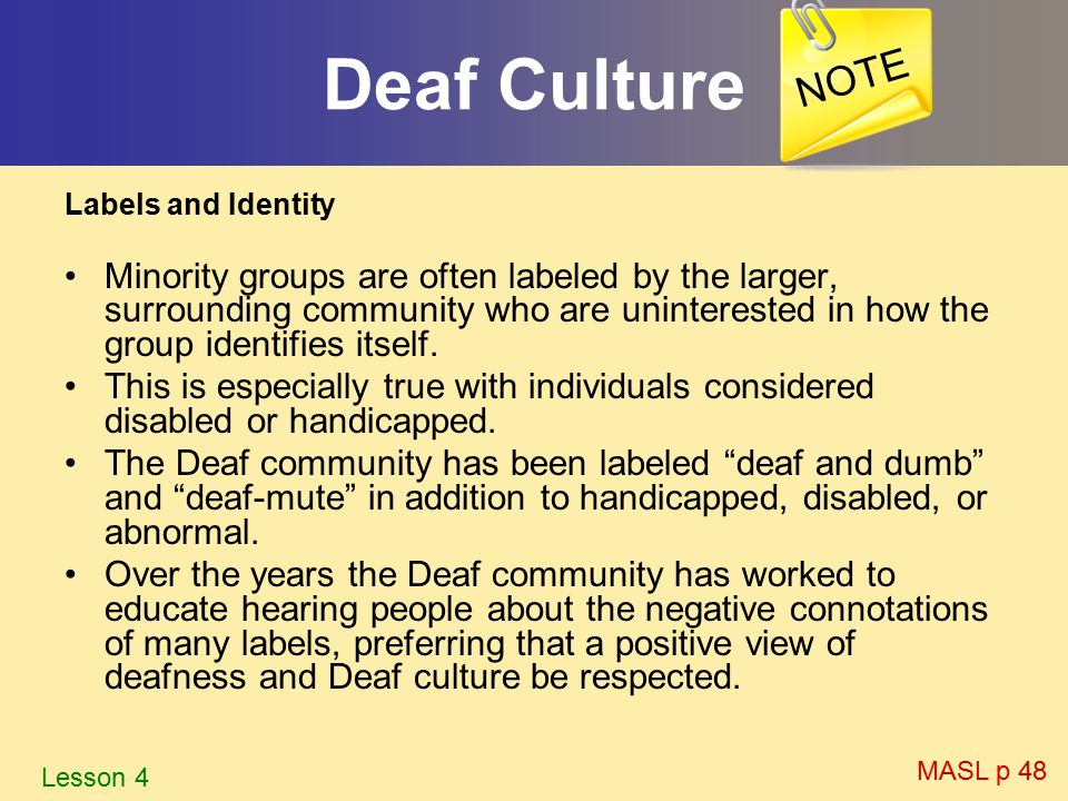 pathological or cultural view of the deaf community Our position deaf culture is a healthy sociological community the deaf-association des sourds du canada does canadian association of the deaf.