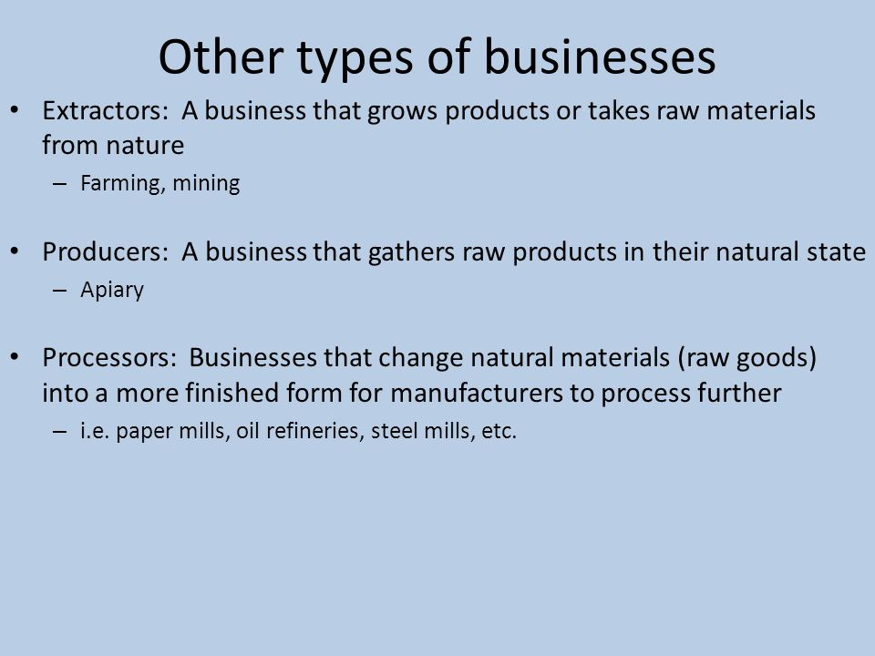 types of businesses Forms of business organization types of partnerships that should be considered: 1 general partnership partners divide responsibility for management and liability, as well as the shares of profit or loss according to their internal agreement.